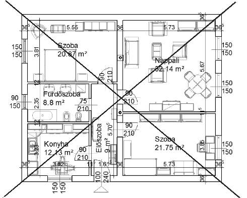 A ház közepét az átlók metszéspontja jelöli ki