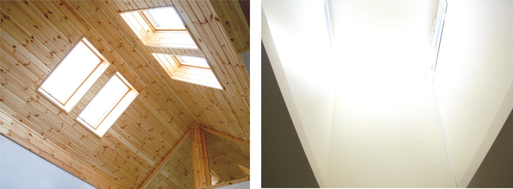 A baloldali képen látható Brahmasztánban 4 db tetősík ablak gondoskodik a nyitottságról, a jobb oldali képen levő Brahmasztánban pedig felülvilágító