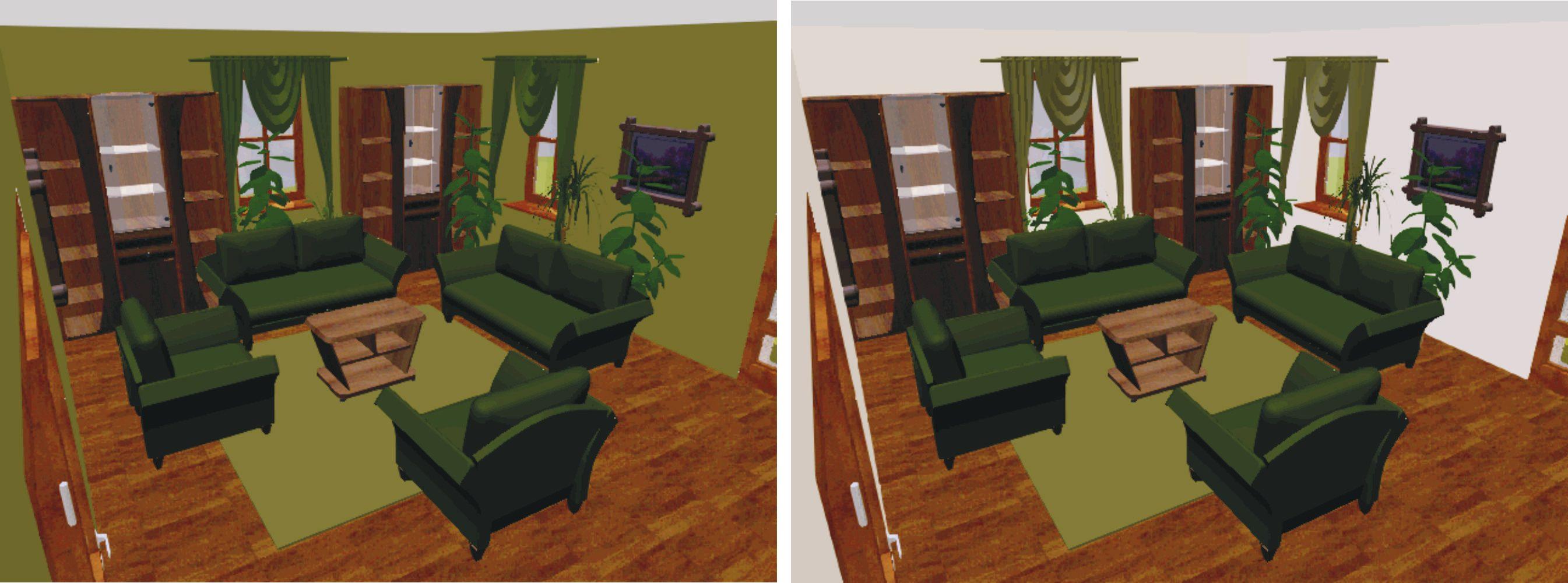 A baloldali szoba lakójának már megint sikerült túlzásba esnie. Ebben a szobában minden zöld - még szerencse, hogy a szekrény és a padló nem... A szoba már attól sokkal frissebbé válik, ha átfestjük a falat és egy kicsit világosabb zöldre cseréljük a függönyt.