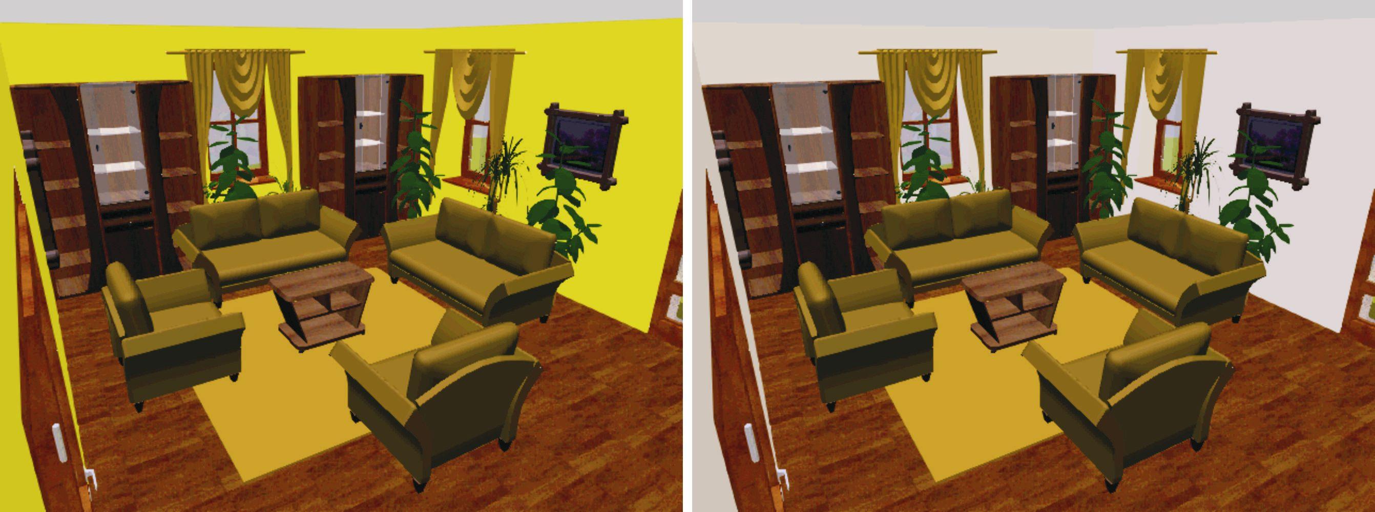 Van, akinek tetszik a baloldali sárga falszín, nekem a jobboldali szoba szimpatikusabb...