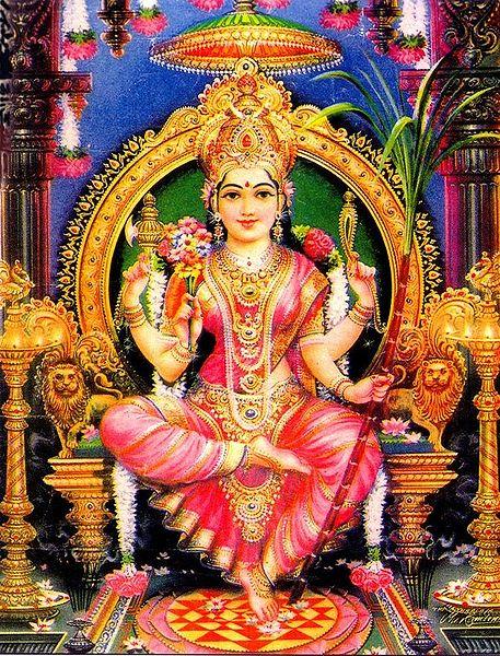 Sri Lalita-Tripurasundari- lába alatt a Sri yantrával