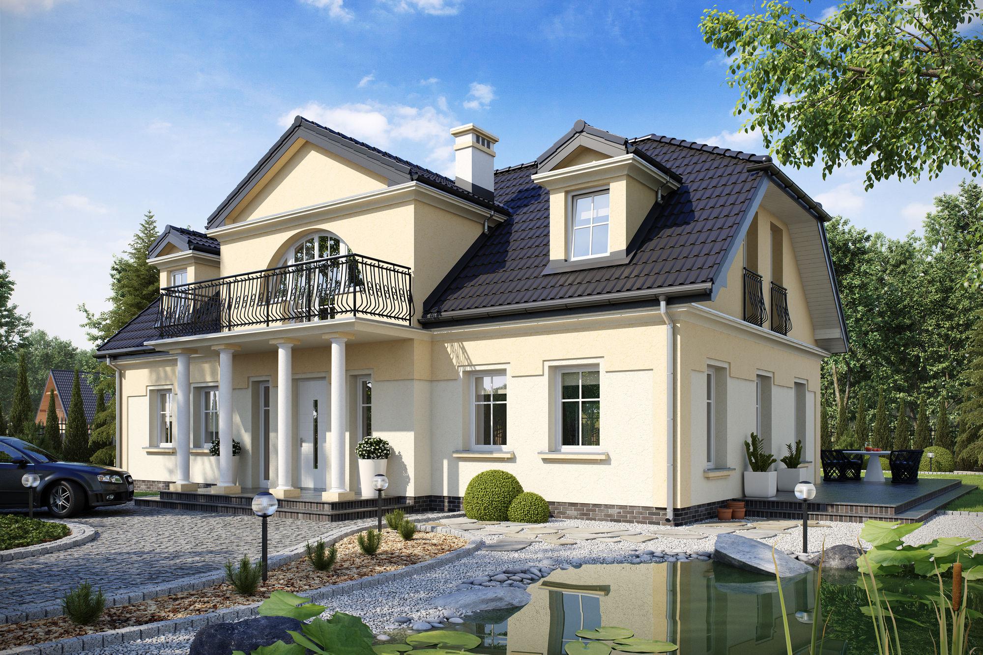 Ezen a rendkívül szép házon nagyon jól látszik a ház szája és szemei