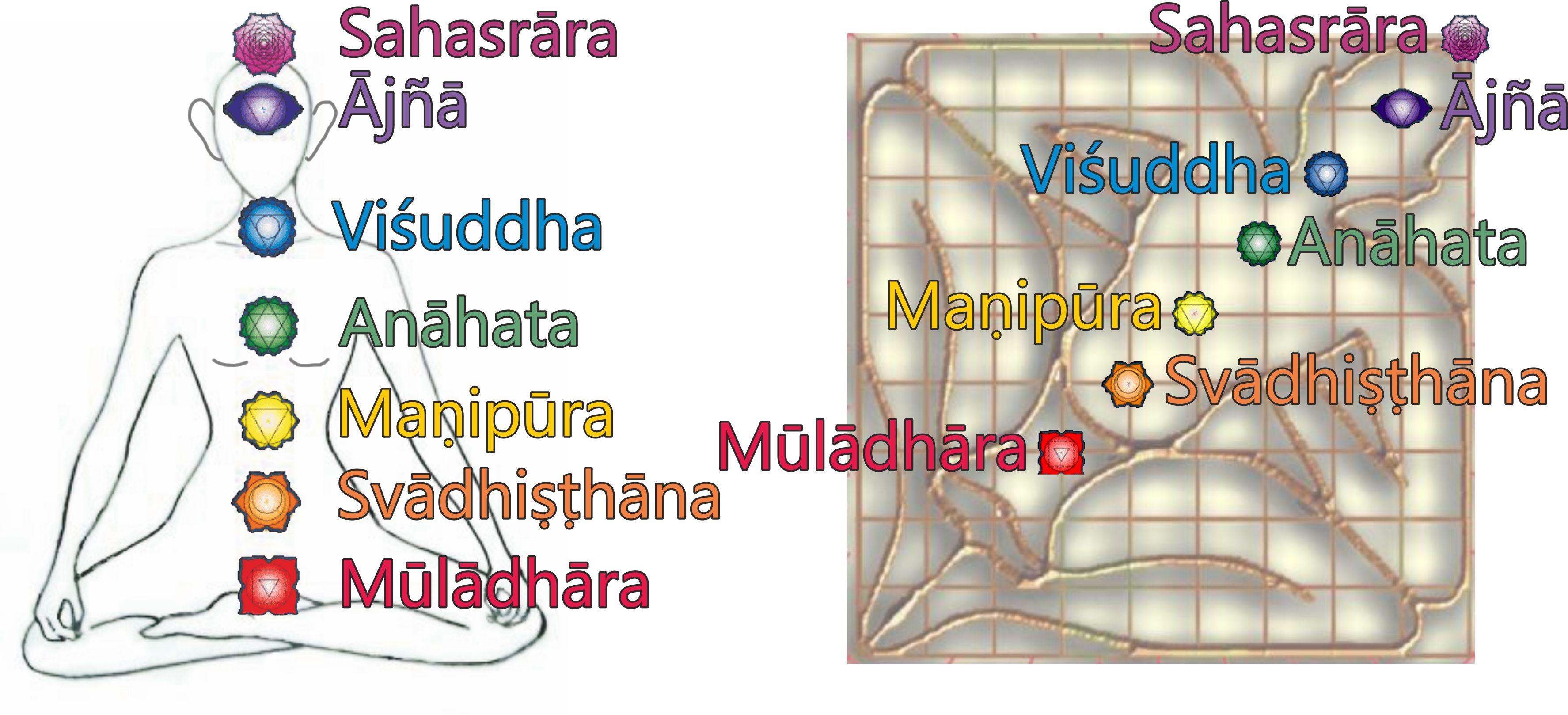 Az első vagy gyökér csakra a délnyugati mahamarma ponttal esik egybe. A 2. és 3. csakra a Brahmasztan területén található, a 4. csakra az északkeleti marmaponton van, az 5. és 6. csakra északkeleten, míg a 7. csakra, ami nem más, mint a korona csakra a mandala északkeleti csücskében található, ami tulajdonképpen már kívül esik a házon...