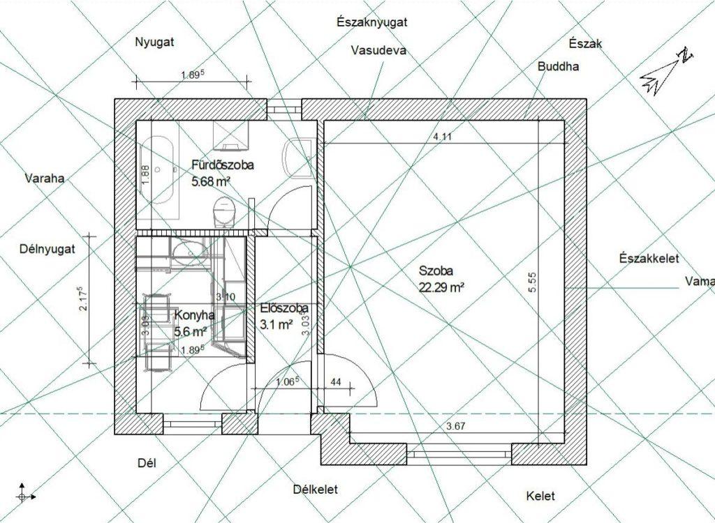 Ez már az átalakított alaprajz. A sok apró, használhatatlan helyiség helyett lesz egy kényelmes fürdőszoba és egy kényelmes konyha.