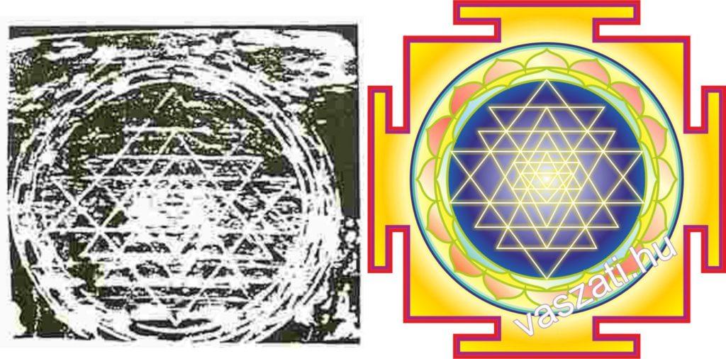 Az om tonoszkópos felvétele és a Sri yantra